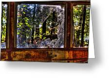 The Woods Through A School Bus Window Greeting Card