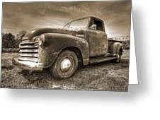 The Workhorse In Sepia - 1953 Chevy Truck Greeting Card