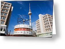 The Worldtime Clock Alexanderplatz Berlin Germany Greeting Card