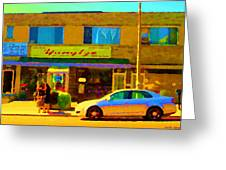 The Yangtze Chinese Food Restaurant On Van Horne Montreal Memories Cafe Street Scene Carole Spandau  Greeting Card