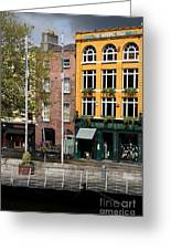 The Yellow House At The Liffey River - Dublin - Ireland Greeting Card
