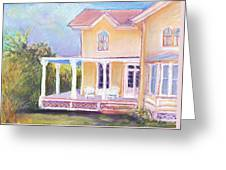 The Yellow Victorian By The Sea Greeting Card