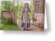 The Young Milkmaid Greeting Card by George Goodwin Kilburne