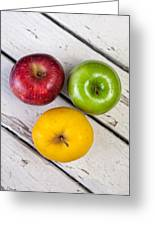 Thee Apples On A Table Greeting Card