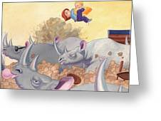 Then Came The Rhinos Greeting Card by Richard Moore