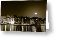 Thessaloniki At Night. Greeting Card by Slavica Koceva