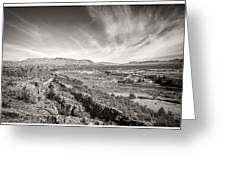 Thingvellir Iceland Black And White Greeting Card