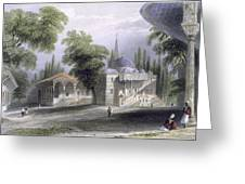 Third Court Of The Serai Bournou, C.1850 Greeting Card by William Henry Bartlett