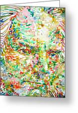 Thomas Bernhard Watercolor Portrait Greeting Card