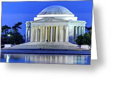 Thomas Jefferson Memorial At Night Reflected In Tidal Basin Greeting Card