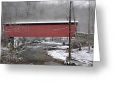 Thomas Mill Covered Bridge Along The Wintery Wissahickon Greeting Card