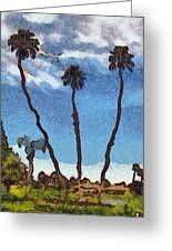 Three Abstract Palm Trees  Greeting Card