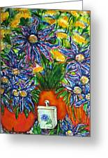 Blue Flowers Yellow And A Perfume Bottle Greeting Card