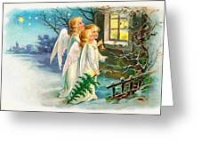 Three Angels In White Dresses Greeting Card