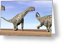 Three Argentinosaurus Dinosaurs Greeting Card by Elena Duvernay