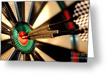 Three Arrows In The Centre Of A Dart Board Greeting Card