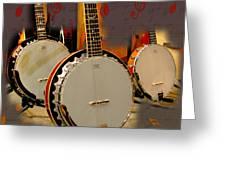 Three Banjoes Greeting Card