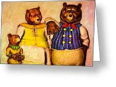 Three Bears Family Portrait Greeting Card by Bob Orsillo