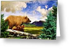 Three Bears In Montana Greeting Card