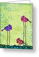 Three Birds - Spring Art By Sharon Cummings Greeting Card