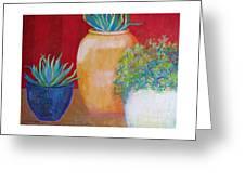Three Bright Pots Greeting Card