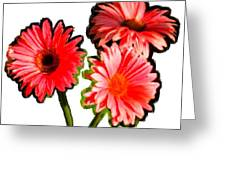 Three Bright Red Flowers Greeting Card