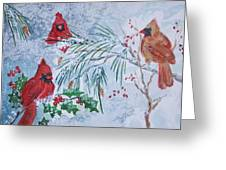 Three Cardinals In The Snow With Holly Greeting Card