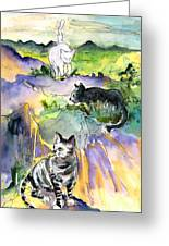 Three Cats On The Penon De Ifach Greeting Card