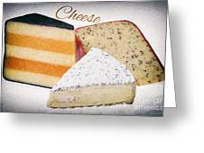 Three Cheese Wedges Distressed Text Greeting Card
