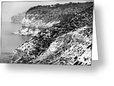 Three Cliffs In Cyprus - Black And White Greeting Card