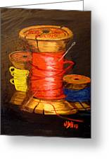 Three Colored Spools Greeting Card