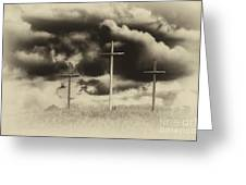 Three Crosses Sepia Greeting Card