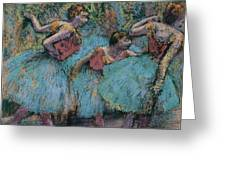 Three Dancers.blue Tutus Red Bodices Greeting Card
