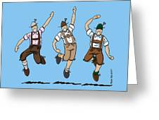 Three Dancing Oktoberfest Lederhosen Men Greeting Card