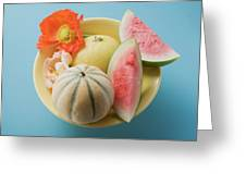 Three Different Melons In Bowl (overhead View) Greeting Card