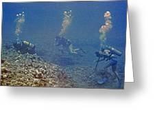 Three Divers In Hawaii Greeting Card