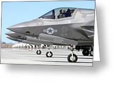 Three F-35b Lightning IIs At Marine Greeting Card