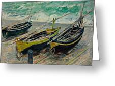Three Fishing Boats Monet 1886 Greeting Card
