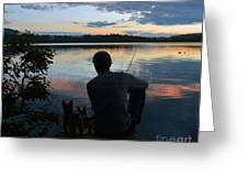Three Fishing One Pole Greeting Card