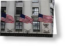 Three Flags Together On 5th Avenue Greeting Card