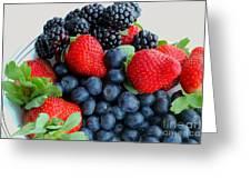 Three Fruit 2 - Strawberries - Blueberries - Blackberries Greeting Card