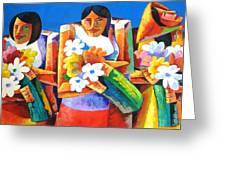 Three Girls With Flowers Greeting Card