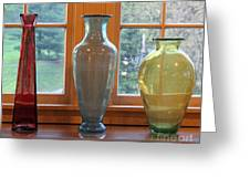 Three Glass Vases In A Window Greeting Card