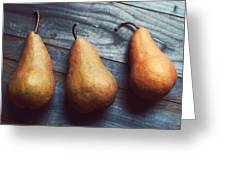 Three Gold Pears Greeting Card