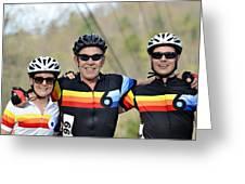 Three Gran Fondo Riders Greeting Card by Susan Leggett