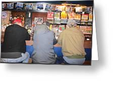 Three Guys In A Bar Greeting Card