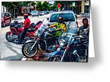 Three Guys On Bikes Greeting Card