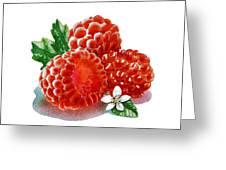 Three Happy Raspberries Greeting Card
