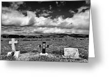Three Headstones Greeting Card by Mick Burkey