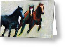 Three Horses On The Diagonal Greeting Card
